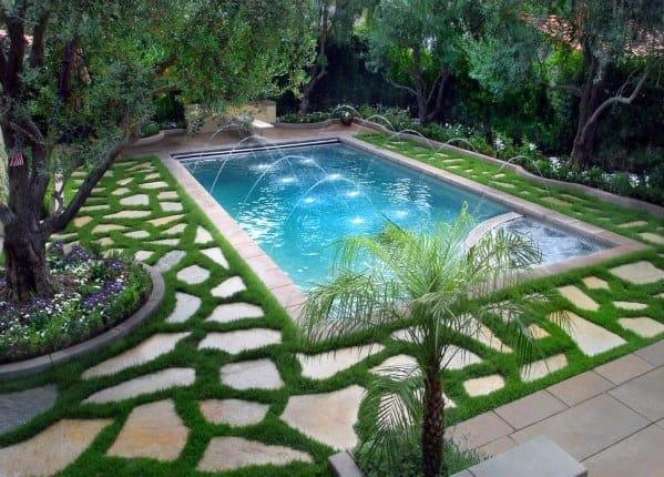pedra natural na piscina