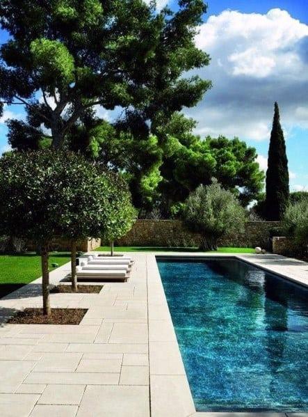 piscina moderna com granito